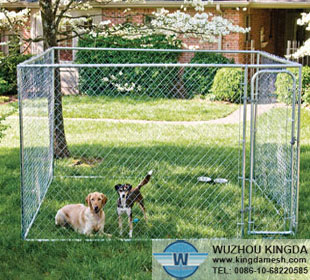 Chain link animal enclosure for dog