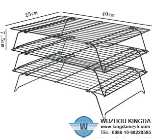 Cake cooling rack with folding legs