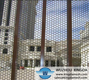 Perforated metal mesh fence