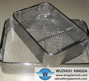 Perforated wire mesh basket
