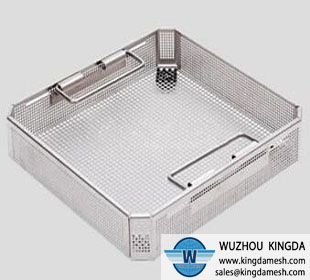 Stainless steel perforated basket or tray