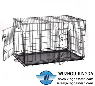 Folding metal wire pet cage