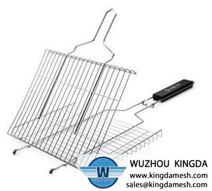 Wire mesh barbecue grill